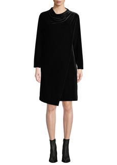 Joan Vass Long-Sleeve Draped-Front Velvet Dress w/ Side Pockets