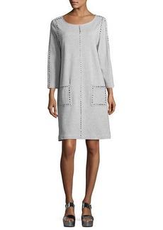 Joan Vass Long-Sleeve Embellished Shift Dress