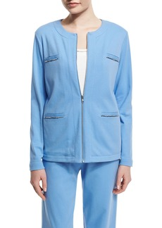 Joan Vass Long-Sleeve Four-Pocket Chain-Trim Jacket