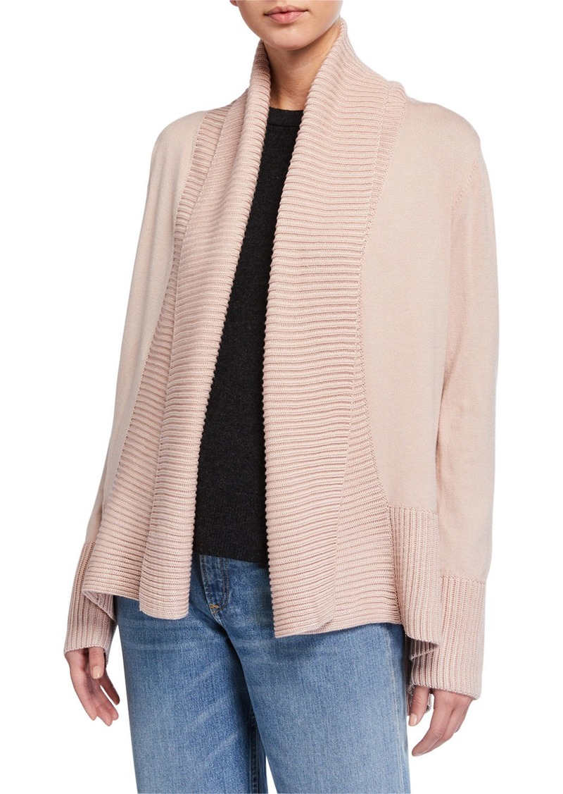 Joan Vass Long-Sleeve Shawl Collar Cardigan
