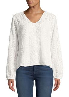 Joan Vass Long-Sleeve Sheer Lace Blouse