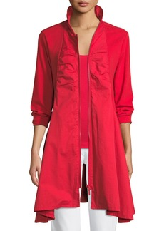 Joan Vass Long-Sleeve Zip-Front Stretch Interlock Jacket