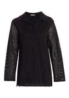 Joan Vass Mesh Notch Shirt