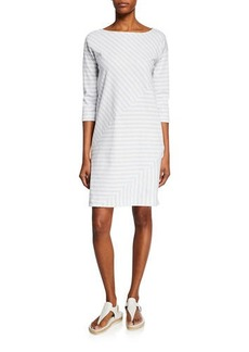 Joan Vass Mini Striped Boat-Neck 3/4-Sleeve Cotton-Interlock Dress