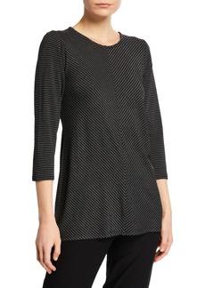 Joan Vass Mitered Stripe 3/4-Sleeve Top