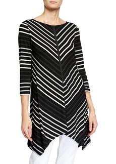 Joan Vass Mitered Stripe Knit Tunic