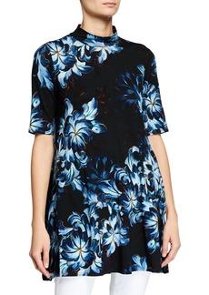 Joan Vass Mock-Neck Floral Tunic