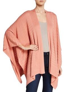 Joan Vass Novelty Ribbed Poncho Sweater