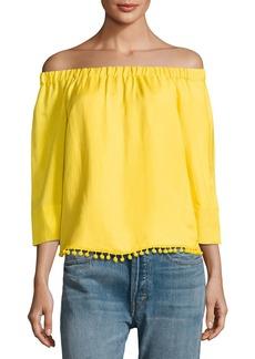 Joan Vass Off-The-Shoulder Pompom Top