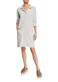 Joan Vass Petite 3/4-Sleeve Button-Front Cotton Interlock Shirtdress w/ Pockets