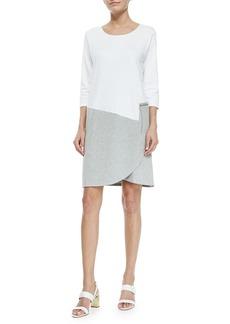Joan Vass Petite 3/4-Sleeve Colorblock Dress
