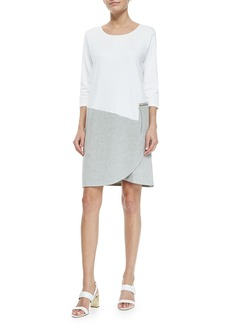 Joan Vass Petite 3/4-Sleeve Colorblock Dress