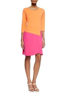 Joan Vass Petite 3/4-Sleeve Colorblock Dress  Fuchsia/Coral