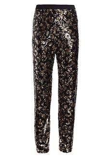 Joan Vass Petite Animal-Print Sequin Pants