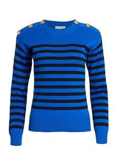 Joan Vass Petite Button Shoulder Striped Sweater
