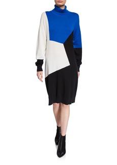Joan Vass Petite Colorblock Turtleneck Cotton Sweaterdress