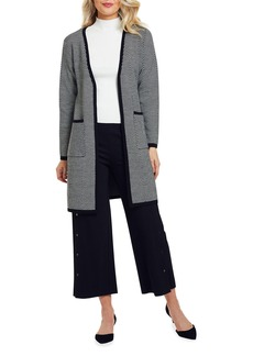 Joan Vass Petite Herringbone Long Wool Cardigan