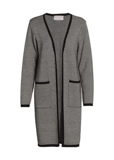 Joan Vass Petite Herringbone Sweater Coat