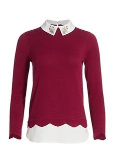 Joan Vass Petite Jewel Embellished Layered Shirt Sweater