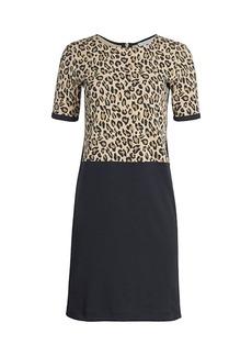 Joan Vass Petite Leopard Bodice Shift Dress