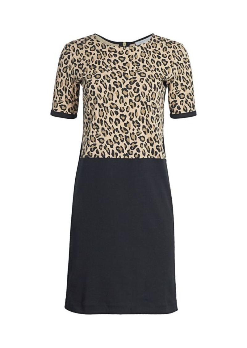 Joan Vass Petite Leopard Bodice Shift Dress