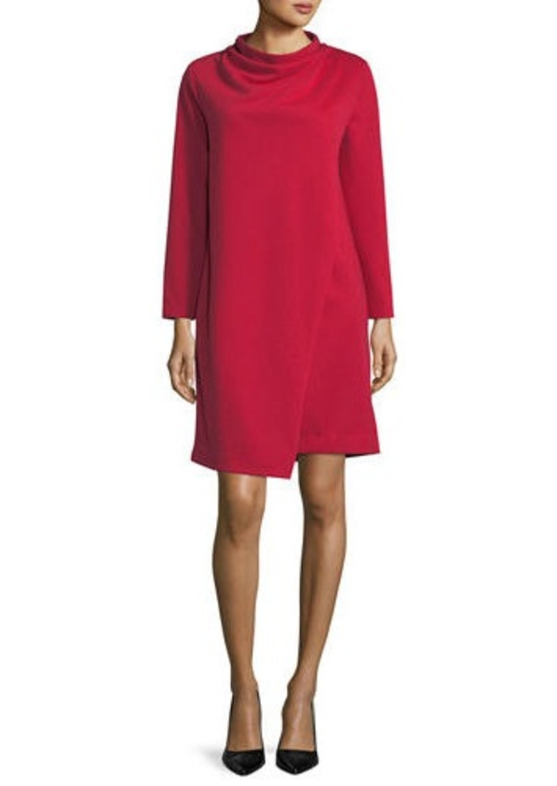 Joan Vass Petite Long-Sleeve Drape-Front Knit Dress