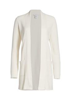 Joan Vass Petite Longline Open-Front Cardigan Sweater