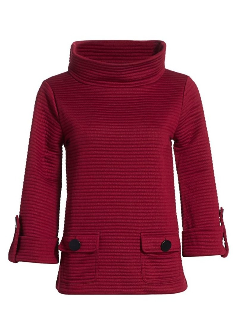 Joan Vass Petite Ottoman High-Neck Rib-Knit Pullover