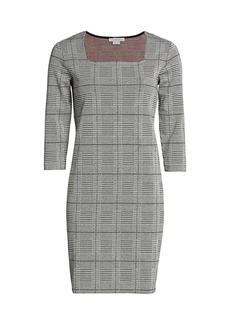 Joan Vass Petite Plaid & Houndstooth Sheath Dress