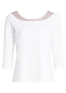 Joan Vass Petite Sequin-Embellished Cotton Top