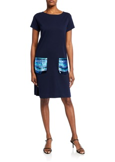 Joan Vass Petite Sequin Pocket Short-Sleeve Dress
