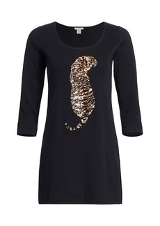 Joan Vass Petite Sequin Tiger Three-Quarter Sleeve Top