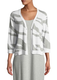 Joan Vass Petite Single-Button 3/4-Sleeve Zebra-Patterned Cardigan