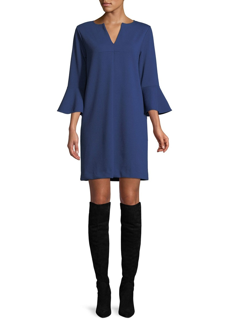 Joan Vass Petite Slit-Neck 3/4 Bell Sleeve A-Line Crepe Dress