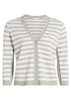 Joan Vass Petite Stripe Cotton Cardigan