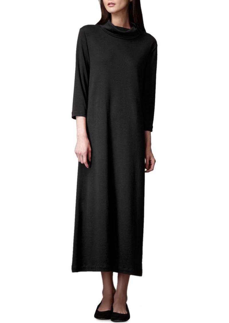 Joan Vass Petite Turtleneck Maxi Dress  Black