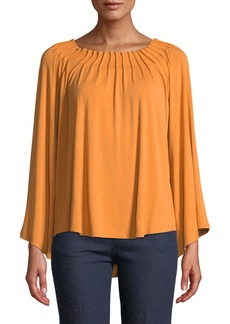 Joan Vass Pleated Bateau-Neck Bell-Sleeve Top