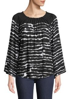 Joan Vass Pleated Bateau-Neck Striped Bell-Sleeve Top