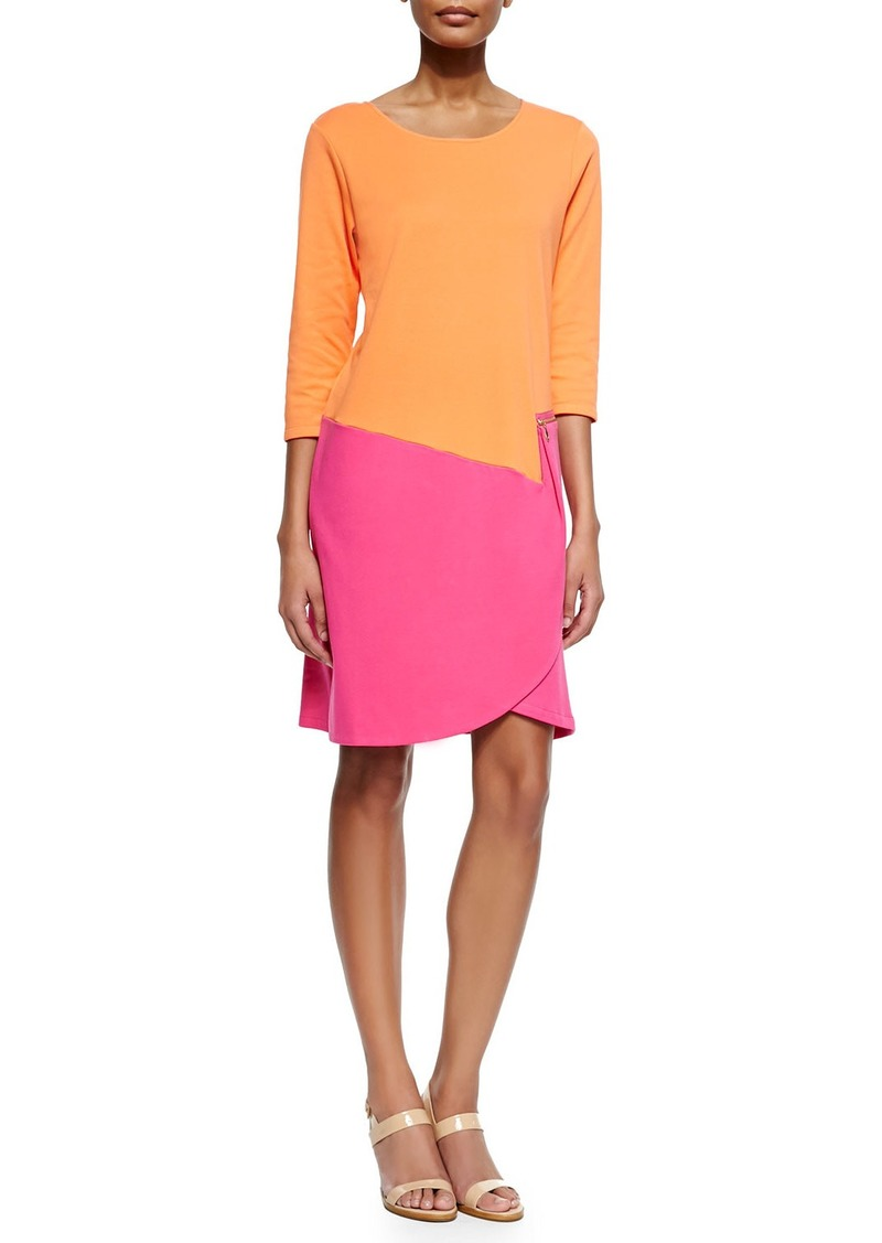 Joan Vass Plus Size 3/4-Sleeve Colorblock Dress  Fuchsia/Coral