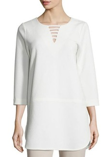 Joan Vass Plus Size 3/4-Sleeve Lattice-Trim Tunic