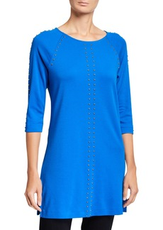 Joan Vass Plus Size 3/4-Sleeve Studded Long Tunic