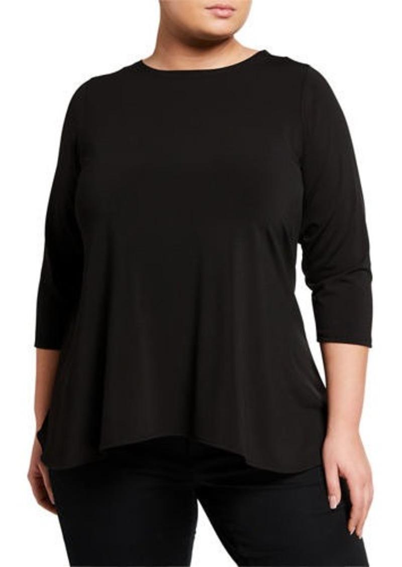 Joan Vass Plus Size 3/4 Sleeve Tunic