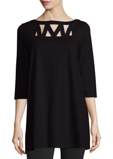 Joan Vass Plus Size 3/4-Sleeve Yoke-Cutout Tunic  Black