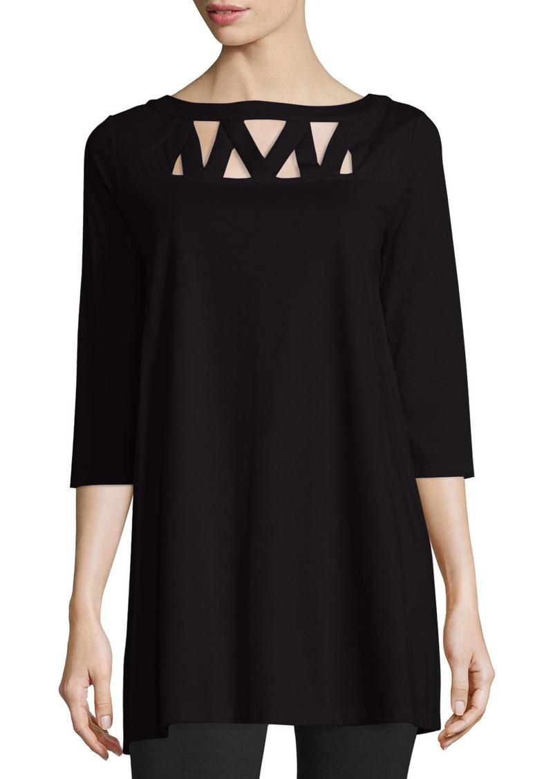 Joan Vass Plus Size 3/4-Sleeve Yoke-Cutout Tunic  Black
