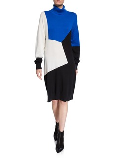 Joan Vass Plus Size Colorblock Turtleneck Cotton Sweaterdress