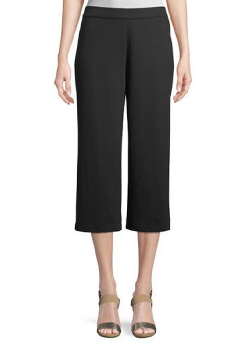 Joan Vass Plus Size Cropped Cotton Interlock Pants