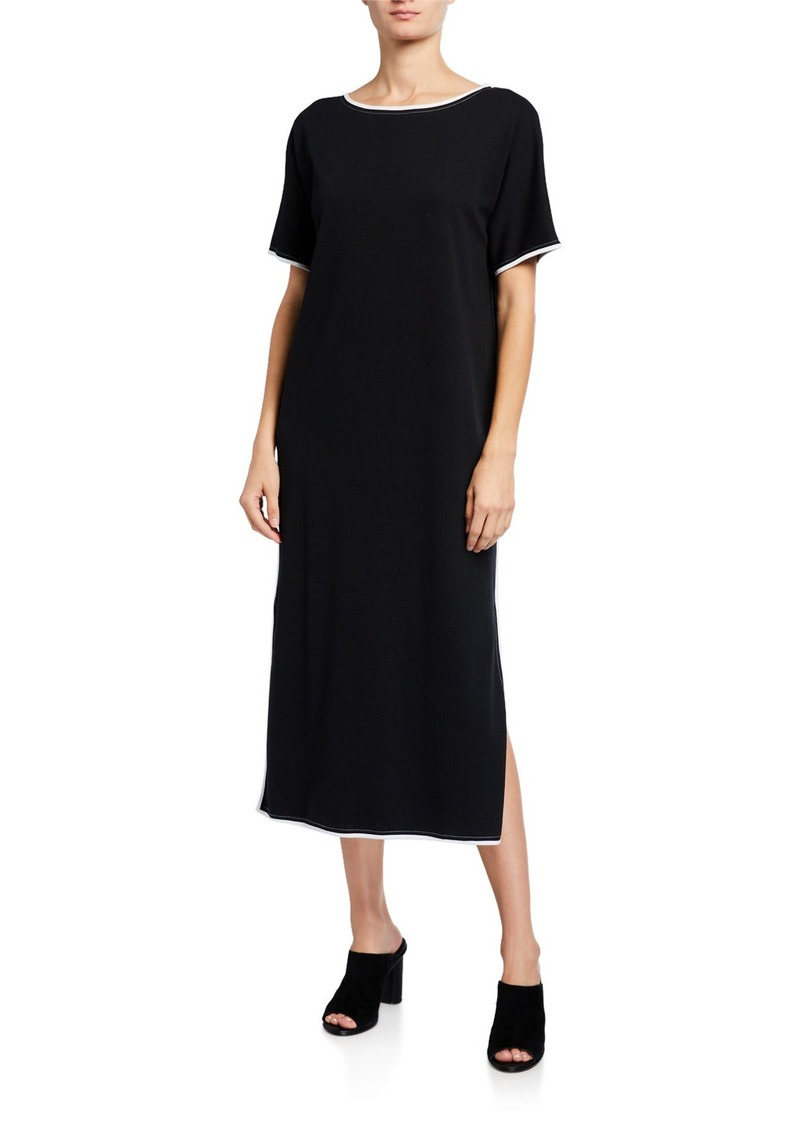 Joan Vass Plus Size Dolman-Sleeve Dress with Contrast Trim