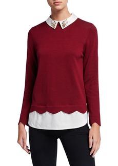 Joan Vass Plus Size Jewel Collar Cotton Sweater w/ Silk Layer
