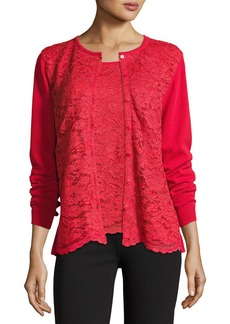 Joan Vass Plus Size Lace-Inset Button-Front Long-Sleeve Cardigan