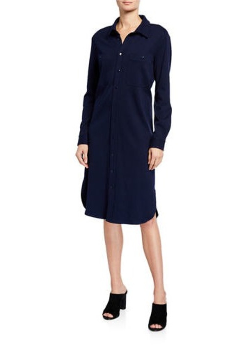 Joan Vass Plus Size Long Button-Front Knit Cotton Shirtdress